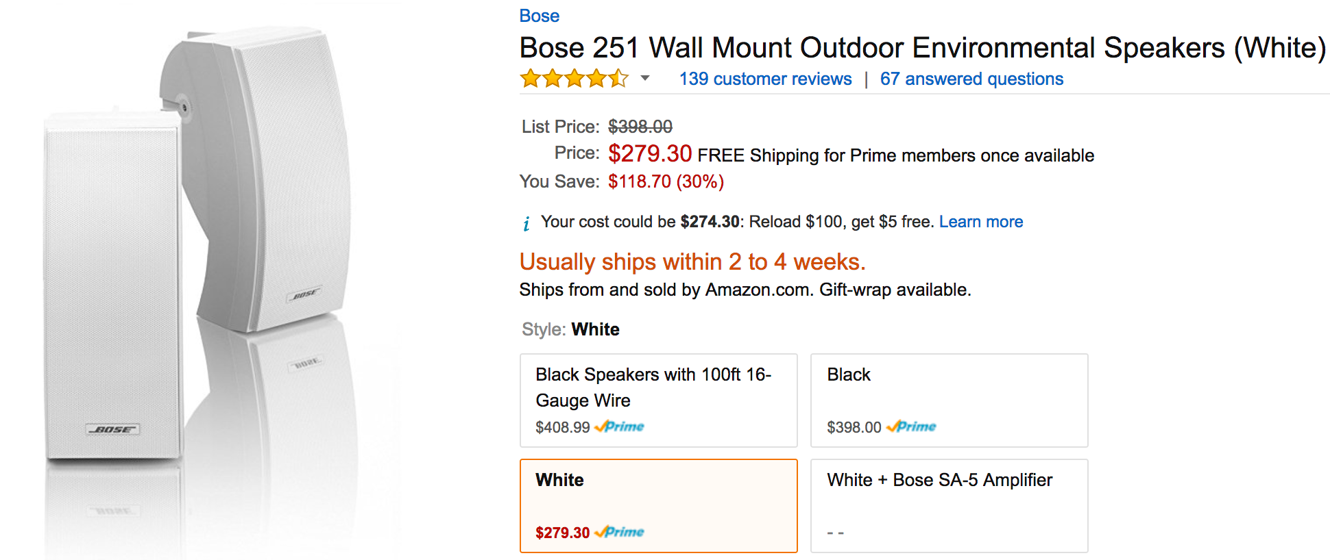Bose Wall Mount Outdoor Environmental Speakers For 280