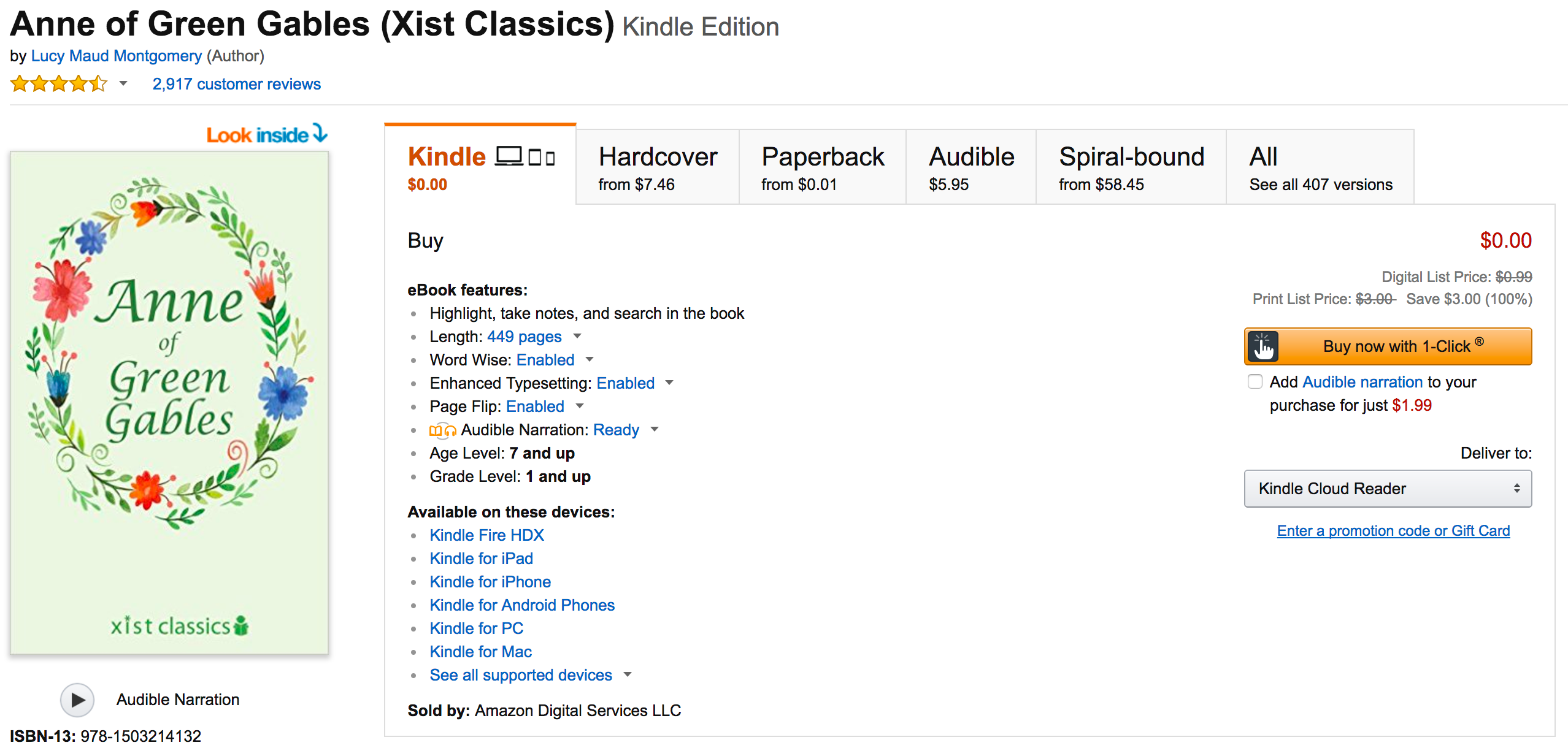 Download a classic for Free: Anne of Green Gables Kindle
