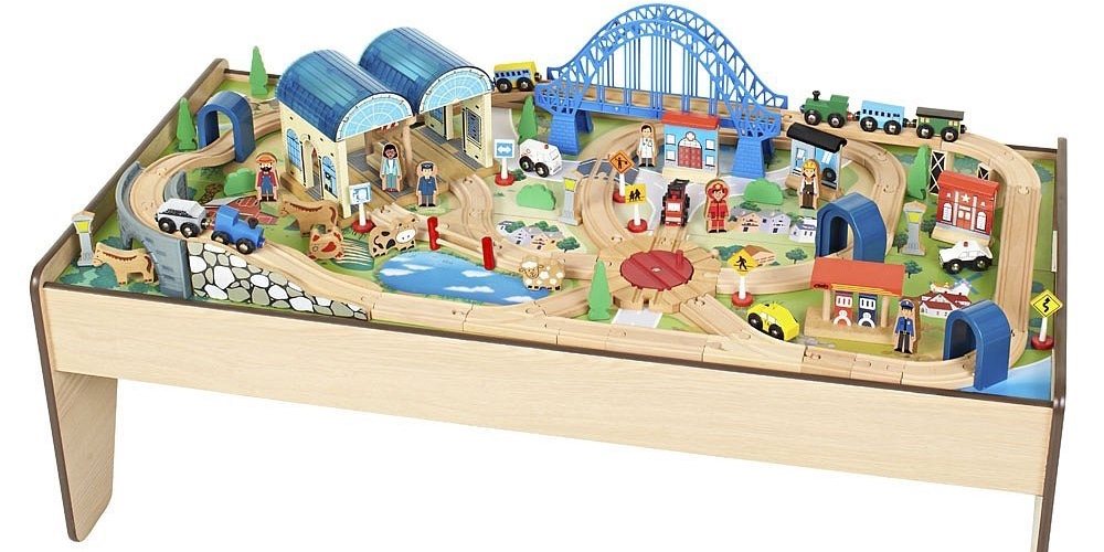 Imaginarium 100-Piece All-In-One Wooden Train Table for $48 | 9to5Toys