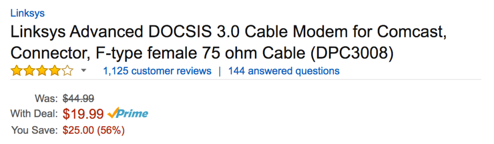 Linksys Cable Modem DPC3008 Amazon Deal