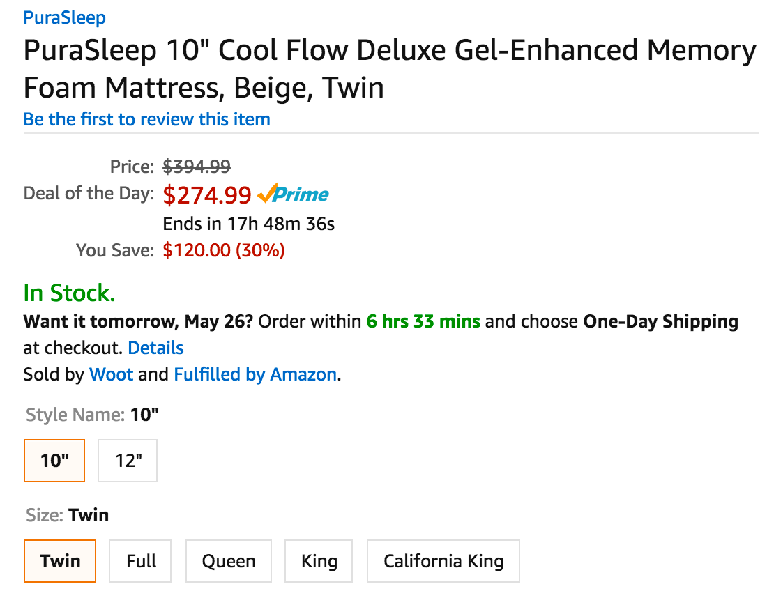 Purasleep Memory Foam Mattresses In All Bed Sizes From 275 Shipped