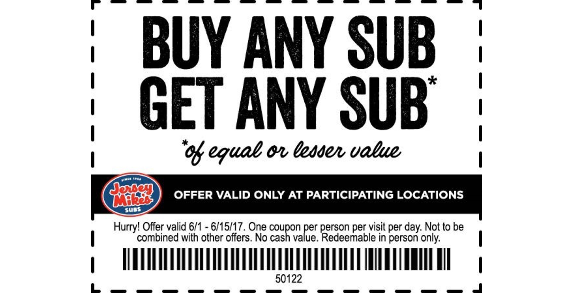 It is a graphic of Old Fashioned Jersey Mikes Printable Coupons