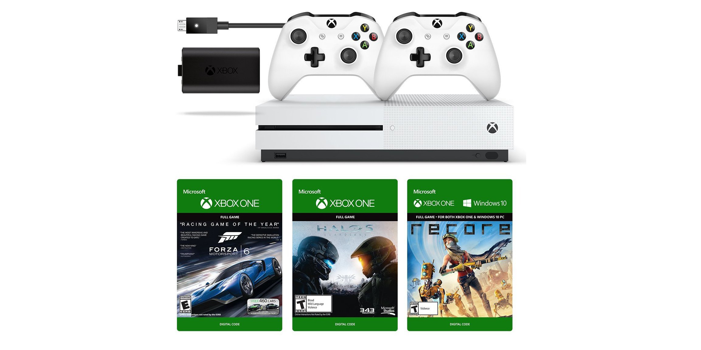 Xbox One S 500GB Prime Day Bundle w/ Play + Charge Kit