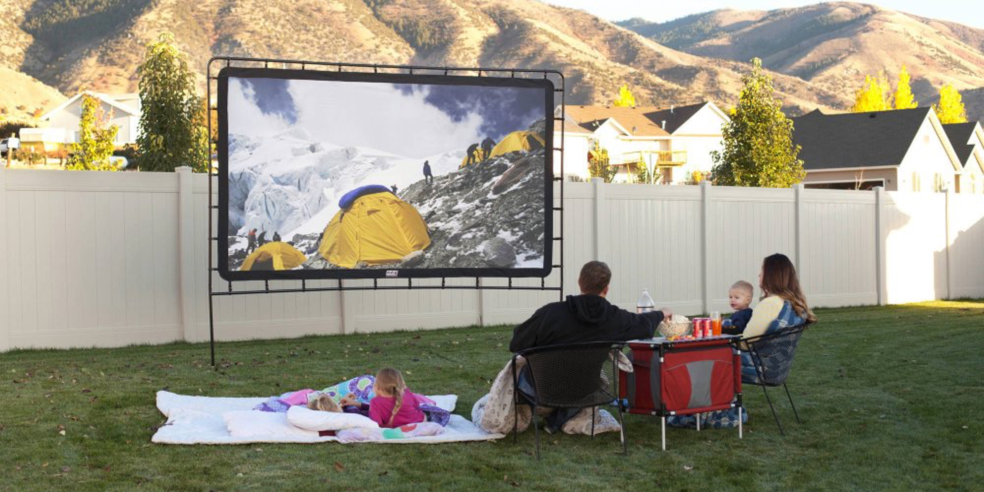 Have the ultimate movie night w/ this 12-foot outdoor screen from $142