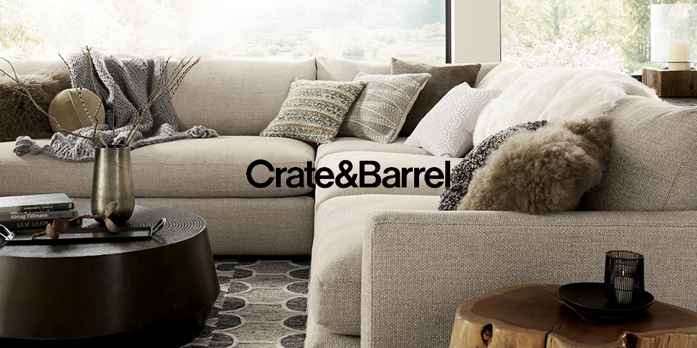 Crate & Barrel Upholstery Event offers 20% off sofas, chairs, gliders and more