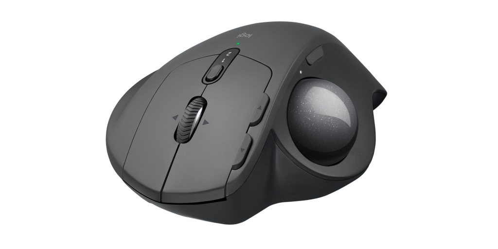 Logitech MX Ergo trackball mouse head-on