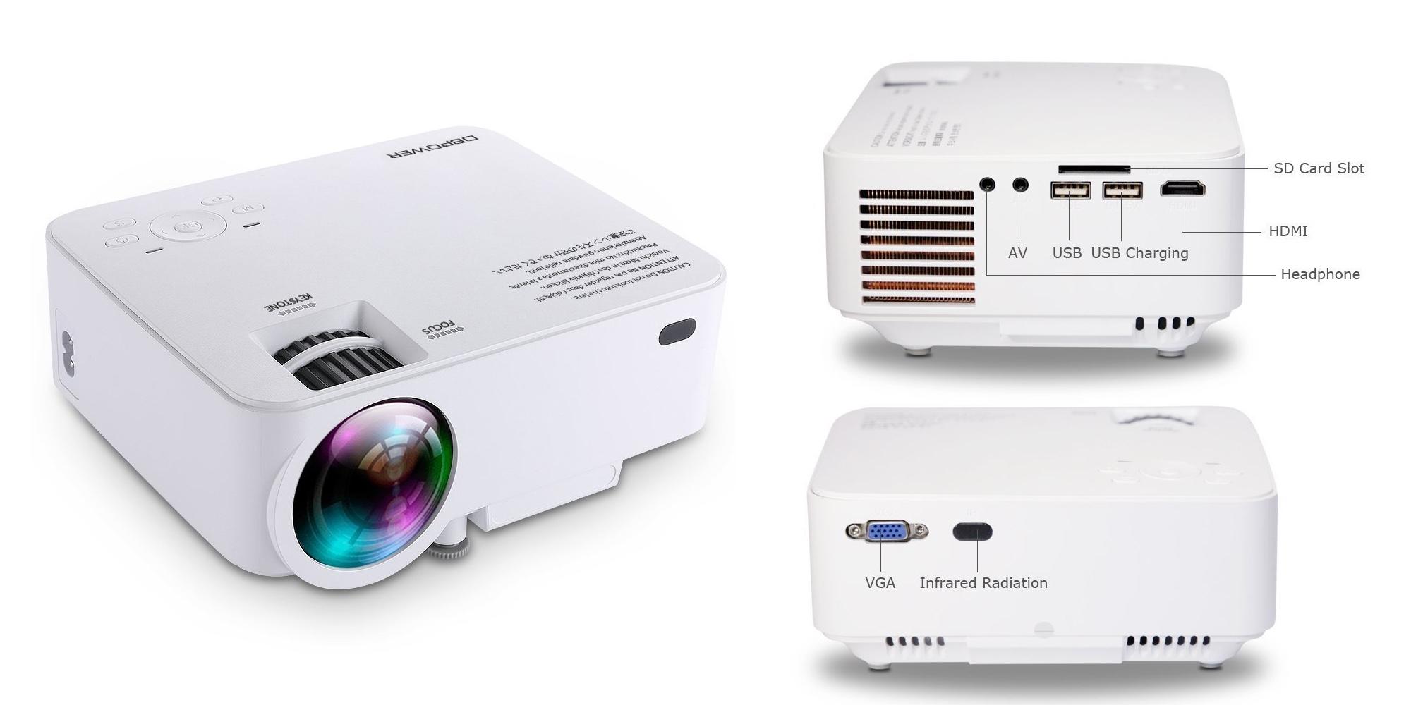 DBPOWER 1500 Lumens Mini Projector w/ dual USB, SDCard, HDMI input: $70 shipped (Reg. $100)