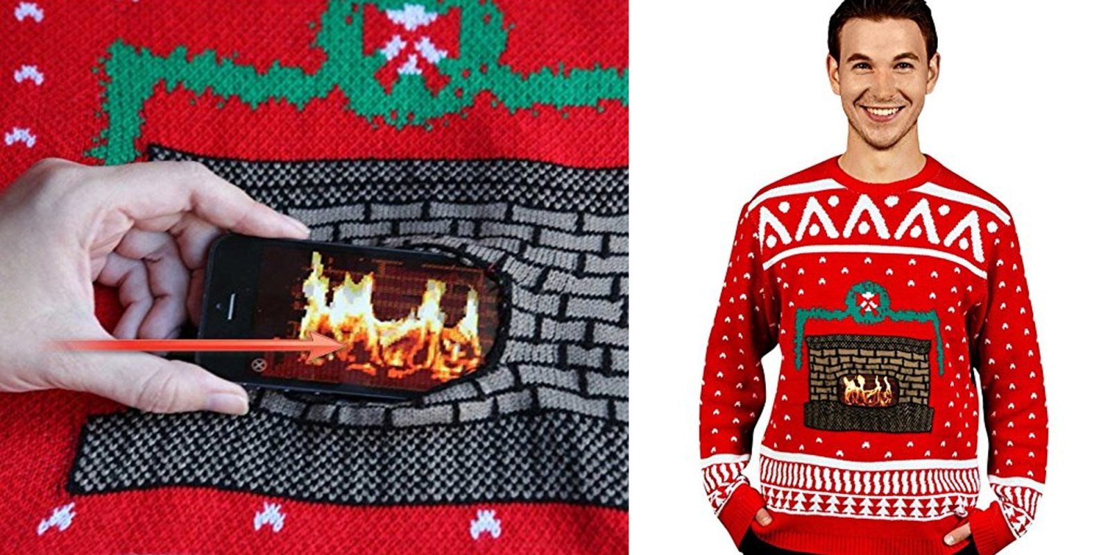 you need this ugly christmas sweater that actually has a digital fireplace - Best Place To Buy Ugly Christmas Sweaters