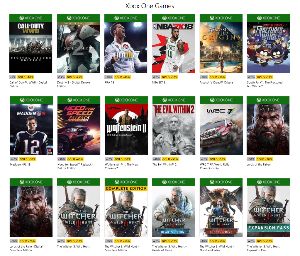 Xbox Live Black Friday 2017 Up To 65 Off Ac Origins Fifa Madden Witcher 3 Many More 9to5toys