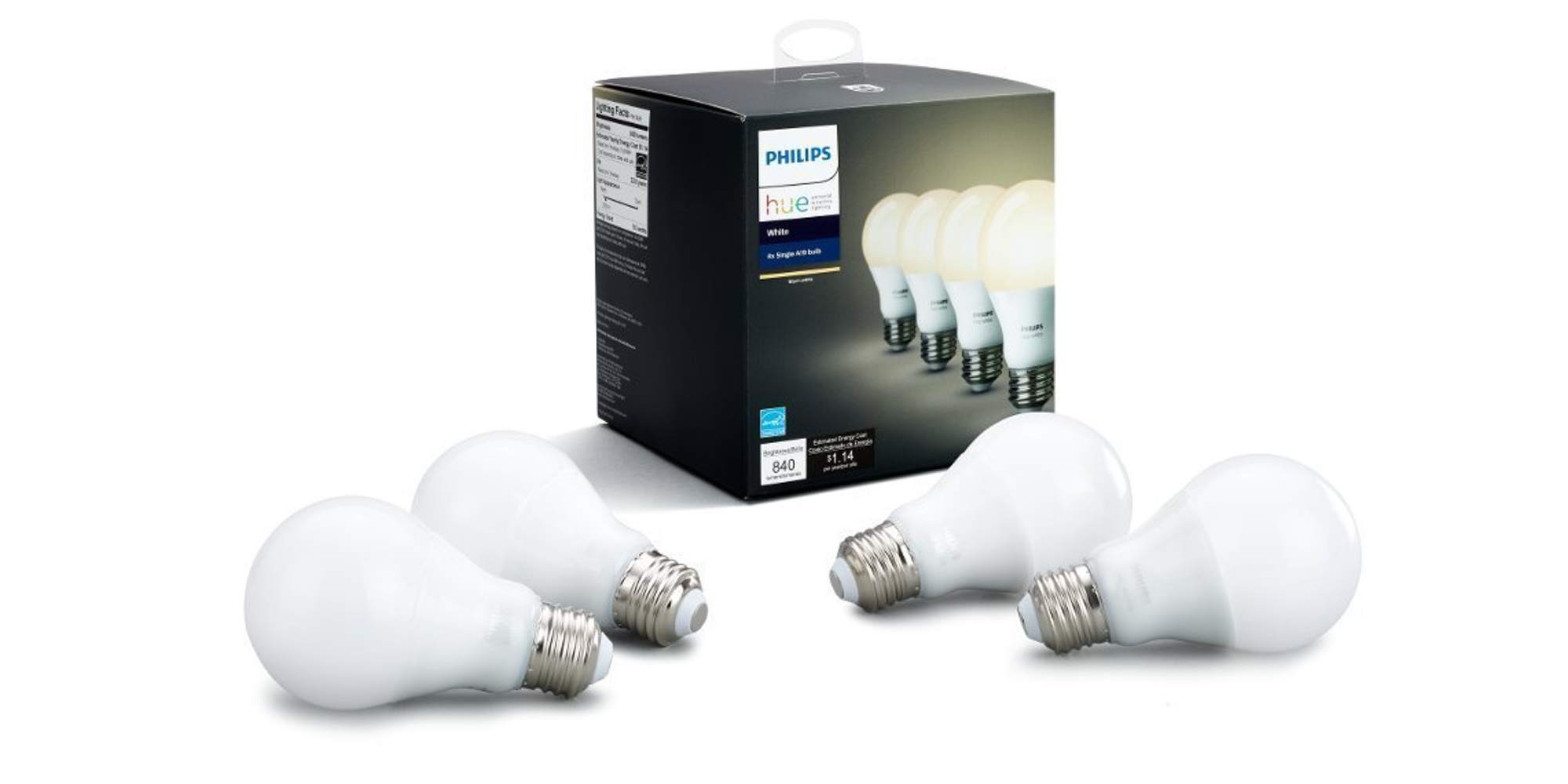Amazon will sell you four Philips Hue White HomeKit LED Bulbs for $10/each