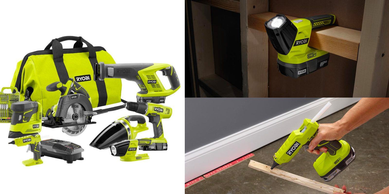 ryobi 39 s 18 volt one 7 tool set w 2 batteries drops to. Black Bedroom Furniture Sets. Home Design Ideas