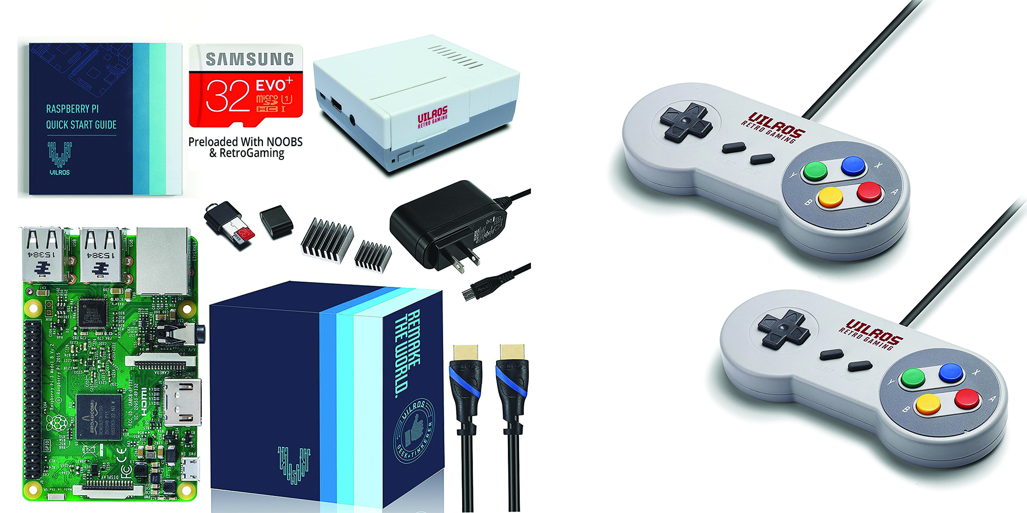 Amazon offers this Raspberry Pi 3 Gaming Kit at $66, add two SNES controllers for $3.50 more