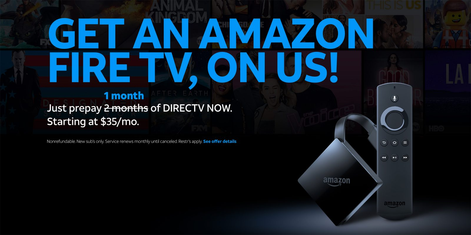 Score a free Amazon Fire TV 4K when you purchase 1-mo. of DirecTV Now  service
