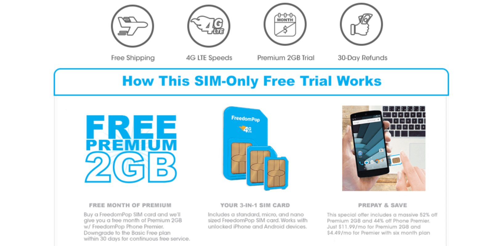 Freedom Pop offers free 2GB of 4G data per month, perfect