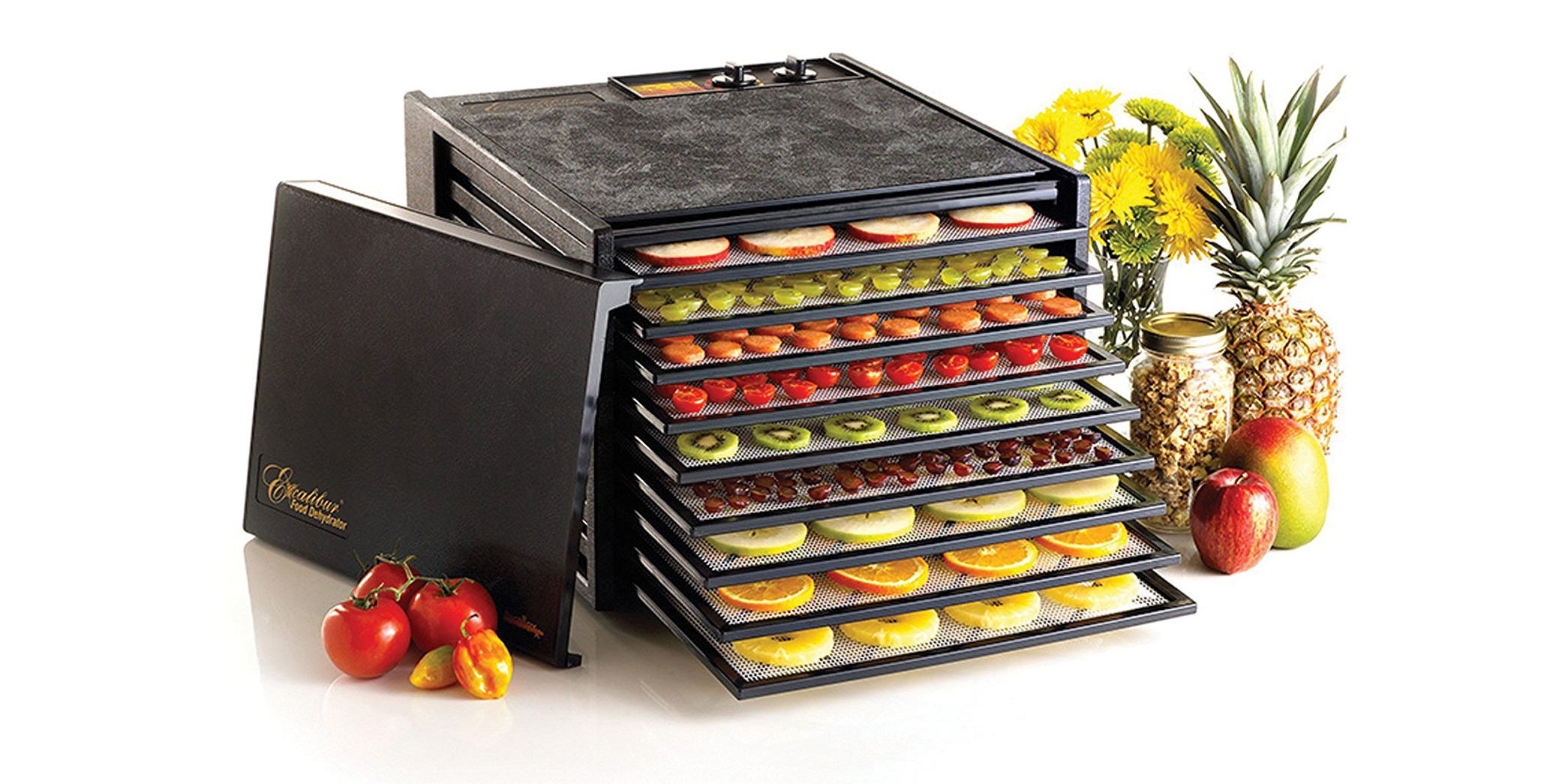 This Excalibur 9-Tray Food Dehydrator has a built-in 26-hour timer, now $192 (Reg. $300+)
