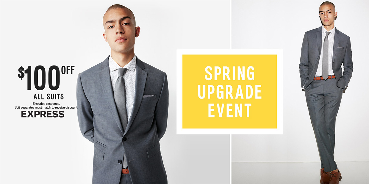 Express Spring Upgrade Event: $100 off all men's suits, 40