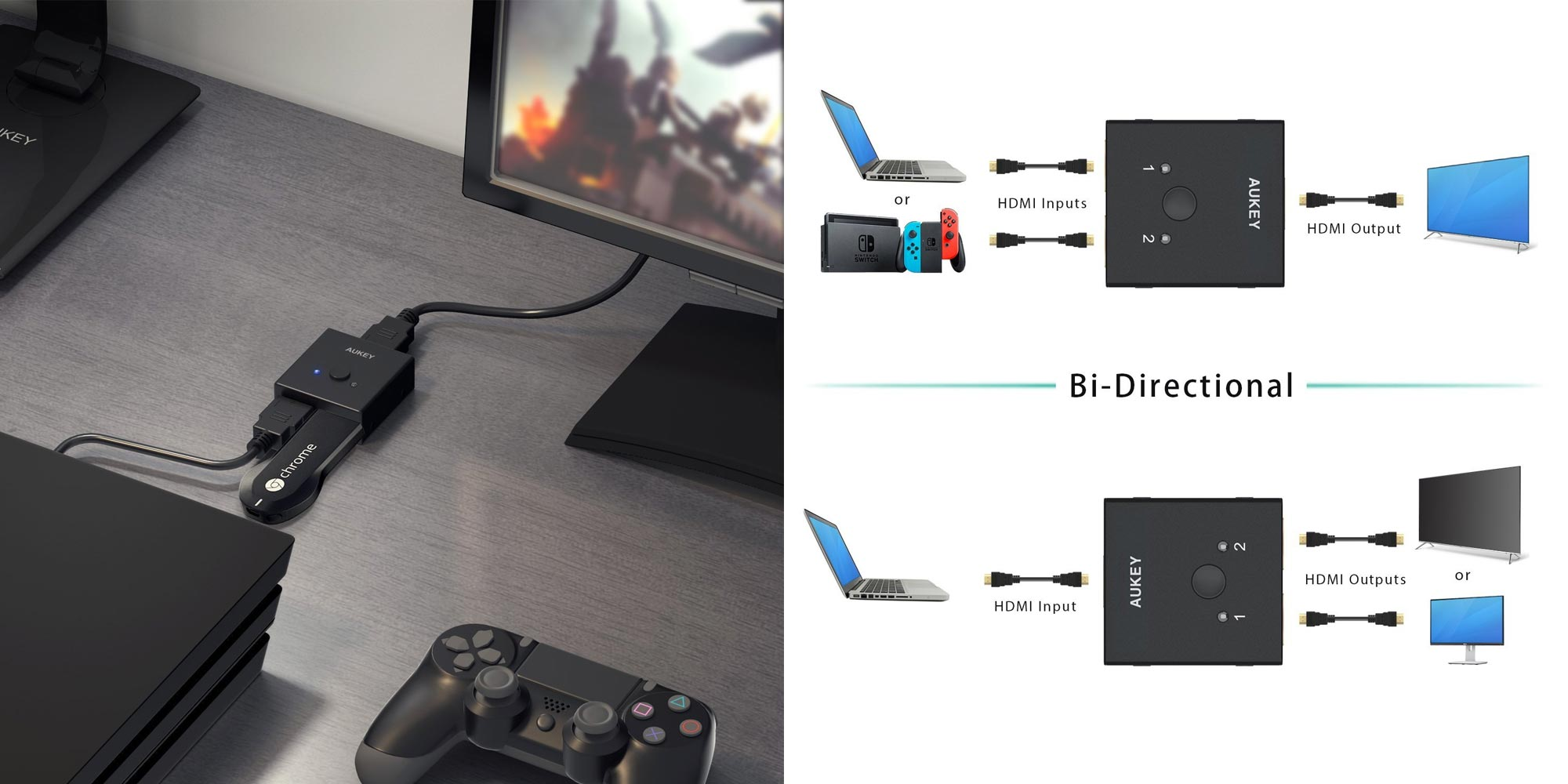 AUKEY's Bi-Directional HDMI Switch is a must-have for any home theater at $11