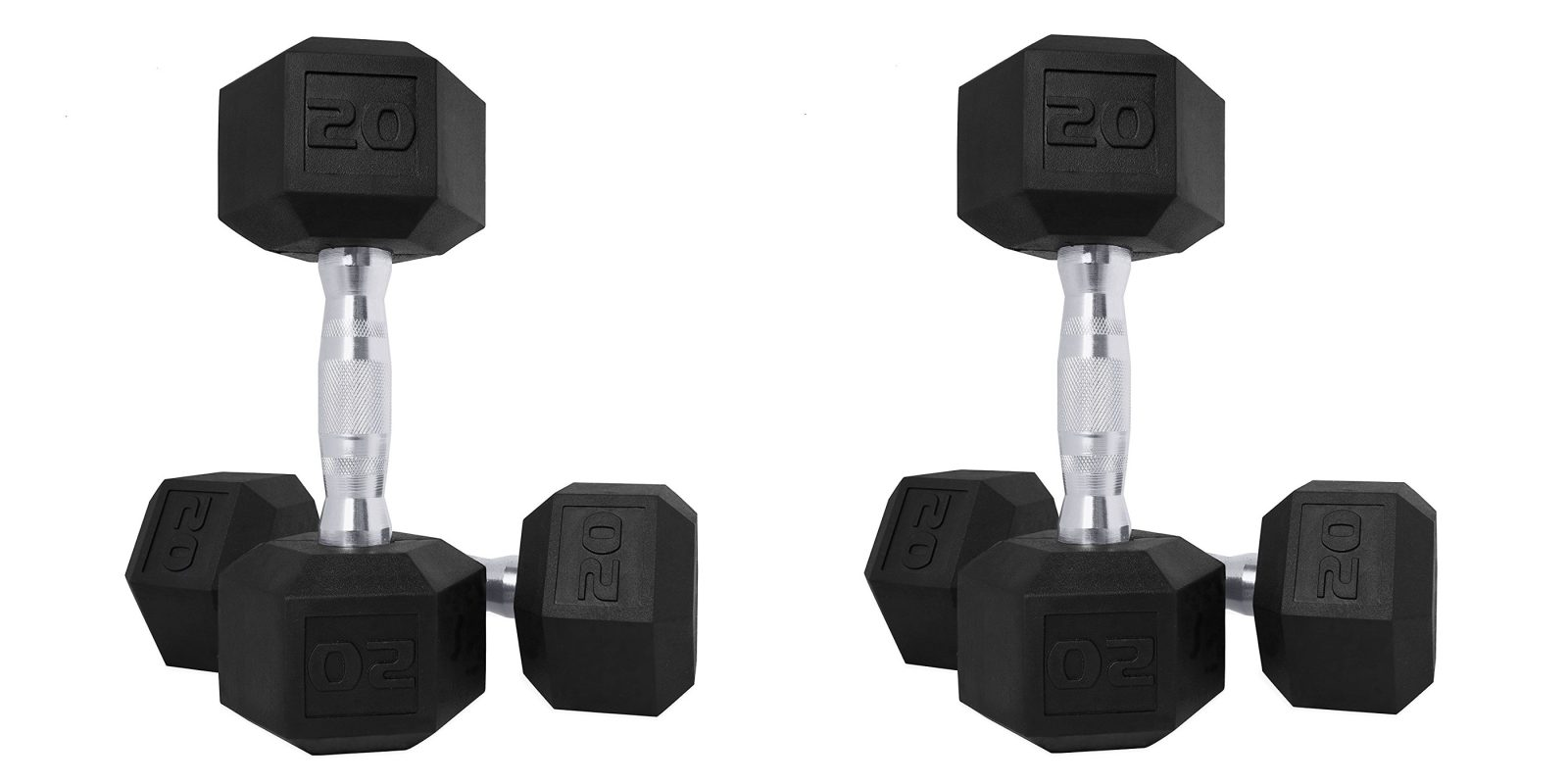 CAP Rubber-Coated Hex Dumbbells: 5 to 60-lb. pairs from $8.50 at Walmart