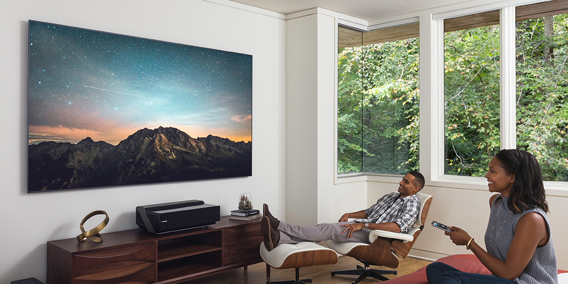 This incredible Hisense laser TV brings a super slim 80-inch screen to your living room