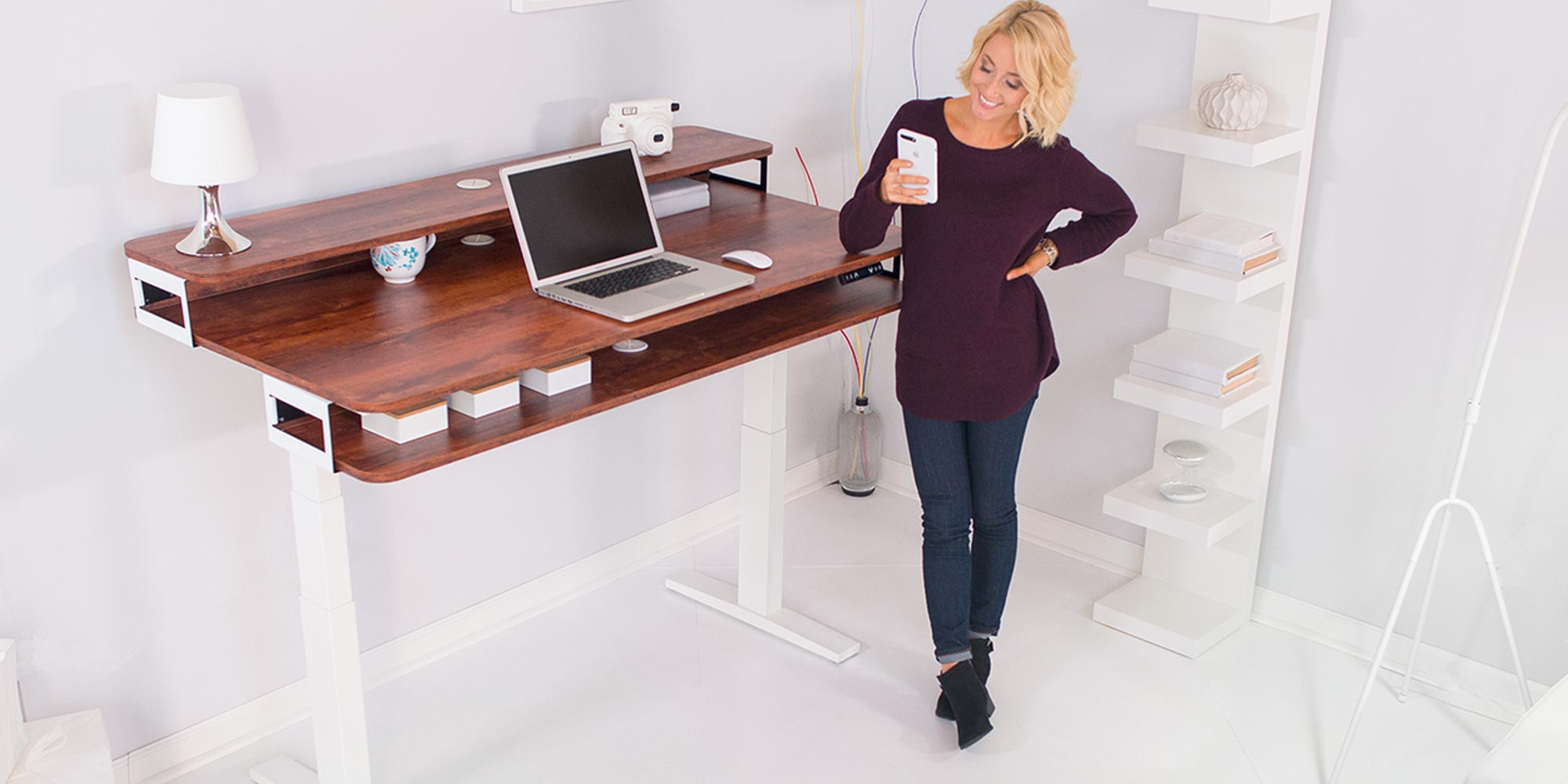 NookDesk reinvents the standing desk with upper & lower storage compartments