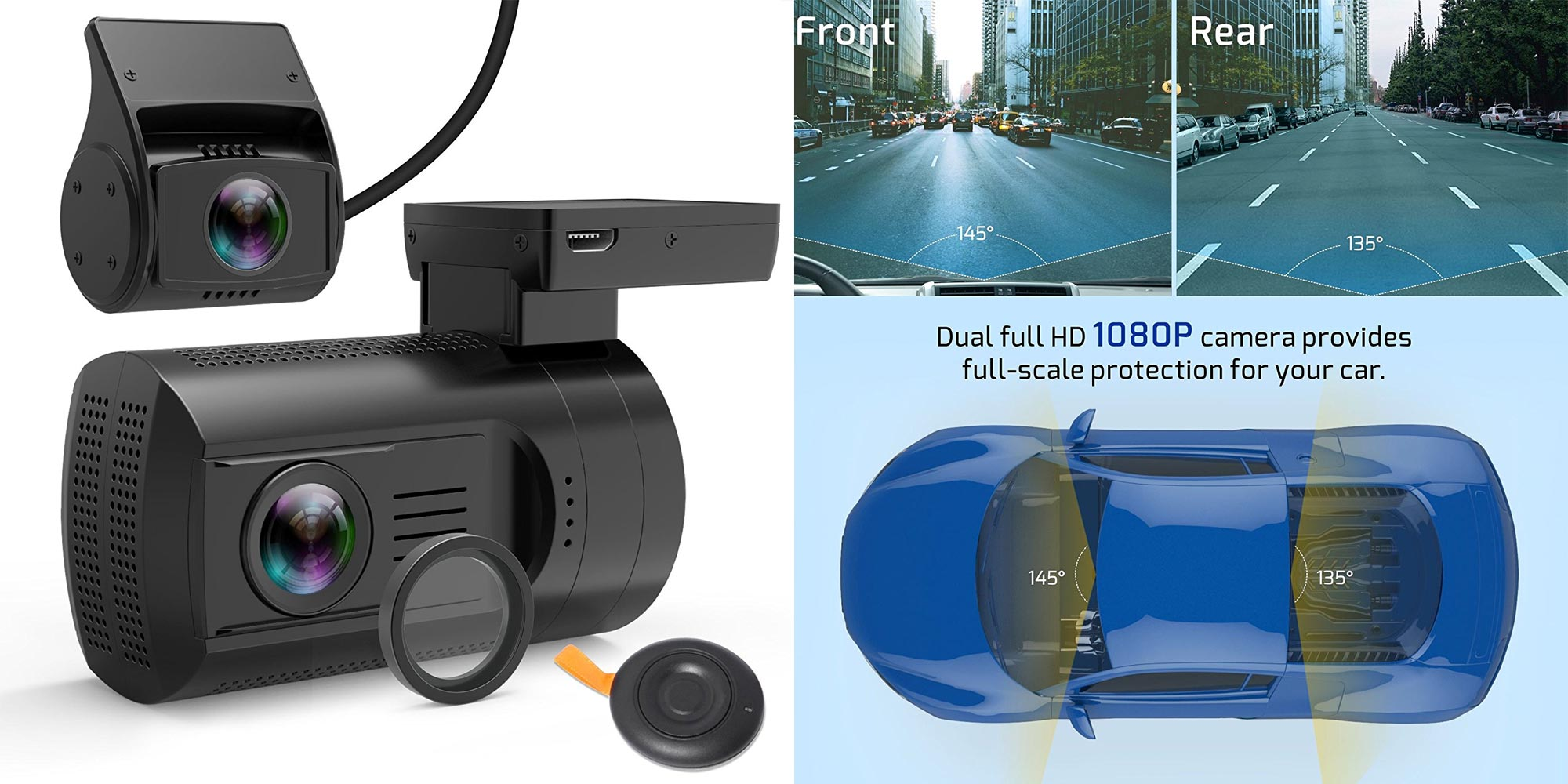 Record video in front & behind your car w/ a dual dash cam setup for $100 (Reg. $130)