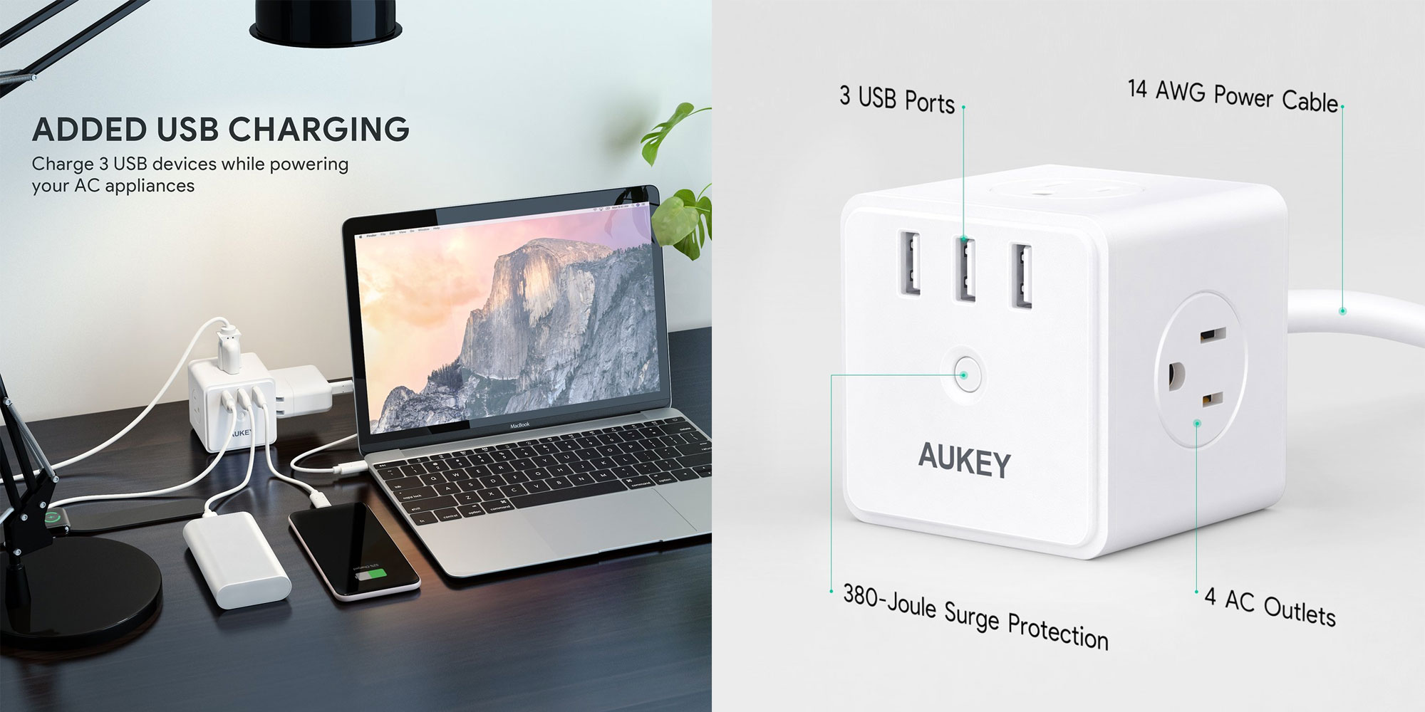 Aukey's power strip has four AC outlets and three USB ports w/ 2.4A charging at $20