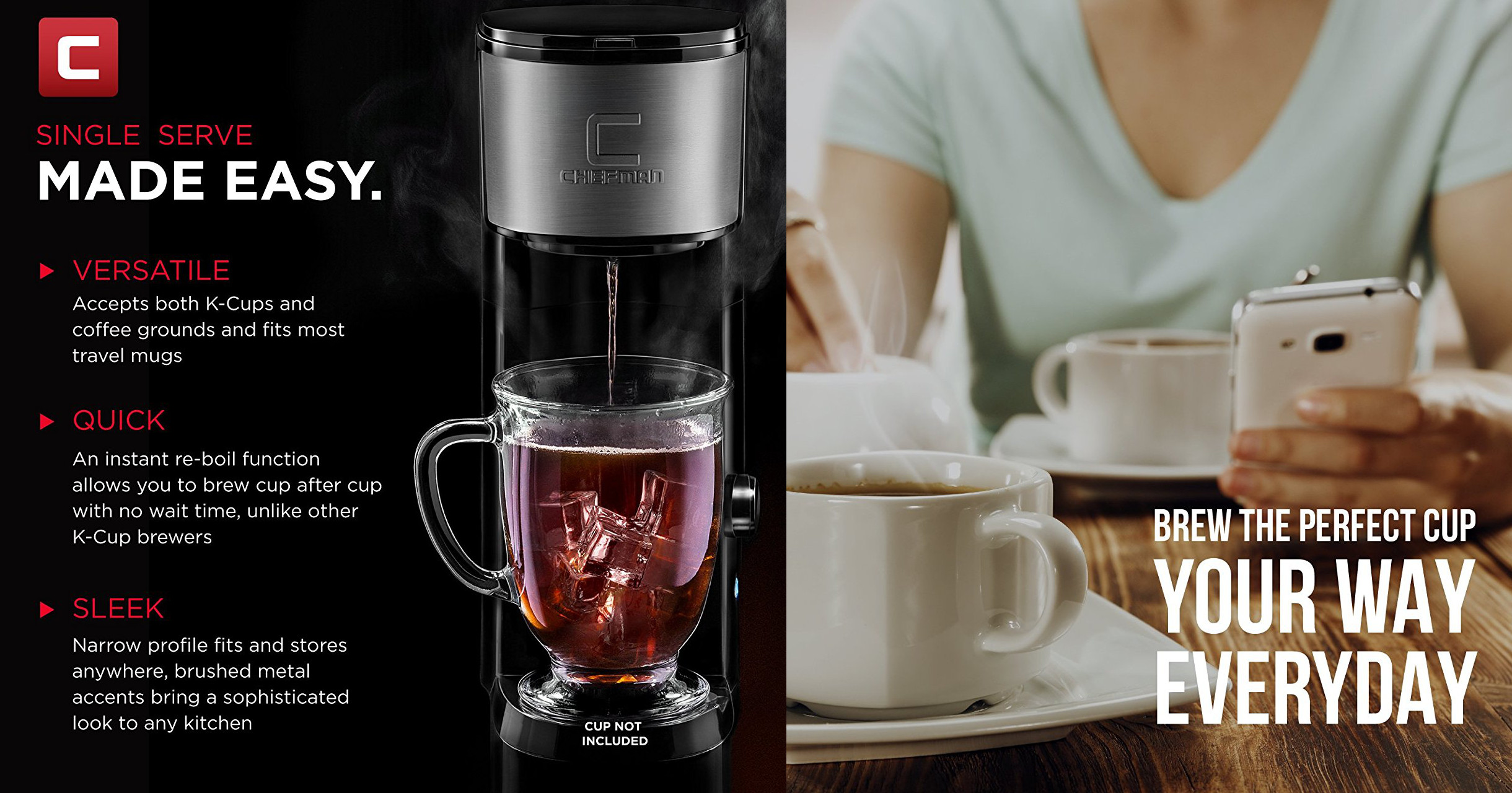 Use K-cups & ground coffee in Chefman's Instabrewer for just $20 (today only)