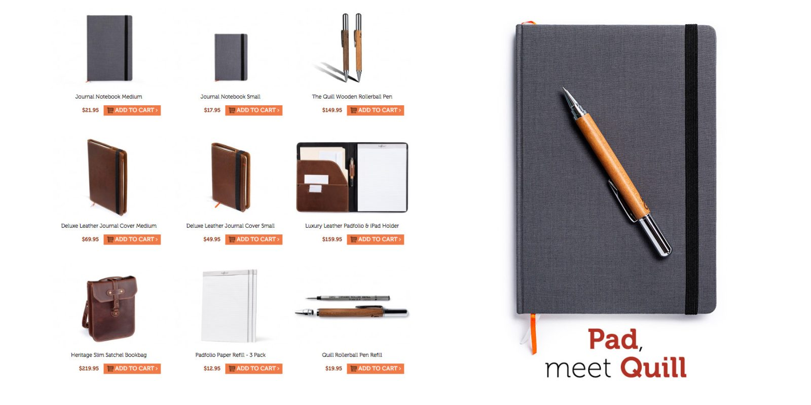 pad quill debuts new leather linen journal wooden rollerball pen