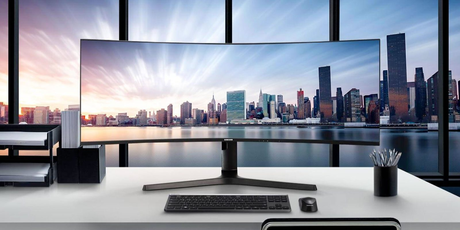 Samsung's 43-inch 32:10 monitor has a built-in KVM switch, multiple USB-C, more