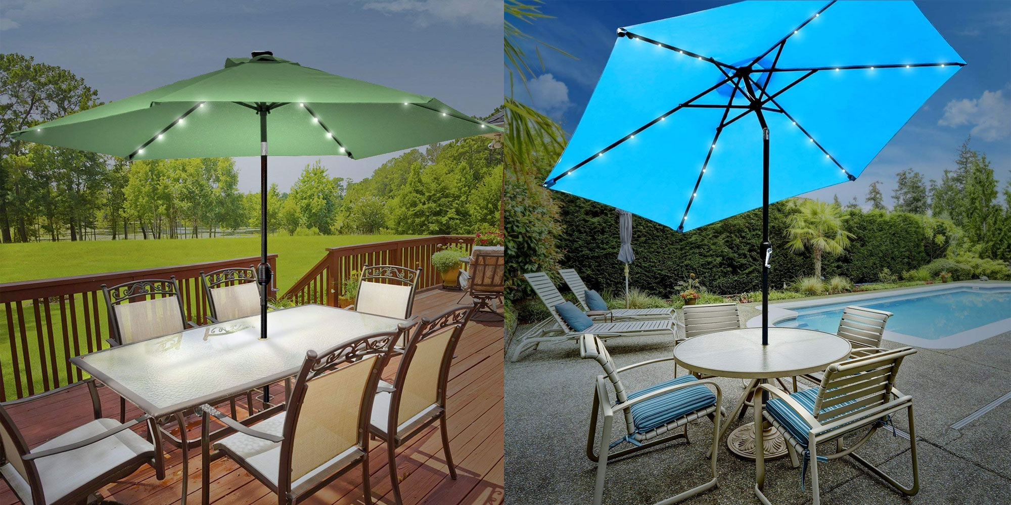Illuminate Your Patio W/ An Umbrella That Has Built In Solar Powered LED  Lights: $60 (Reg. $75)