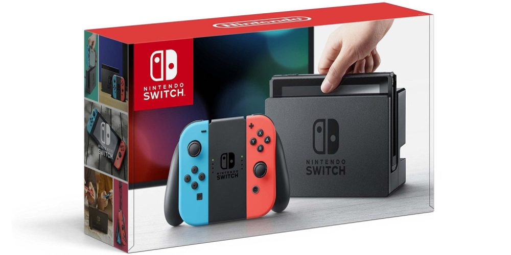 Nintendo Switch console shown with Joy-con