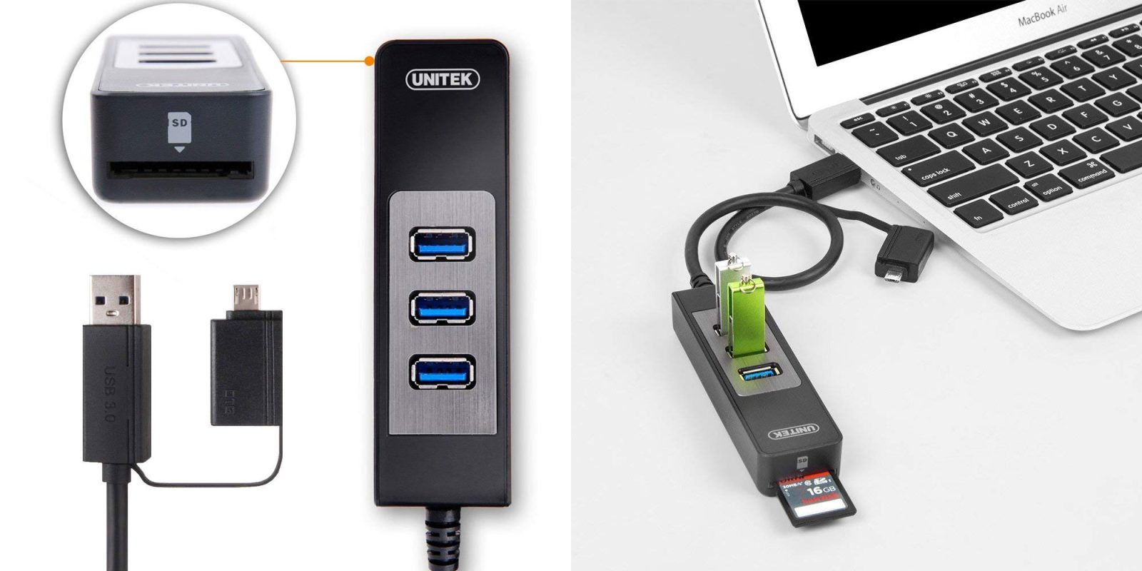 Add three USB 3.0 ports + SD Card support to any computer w/ this hub at $4 Prime shipped