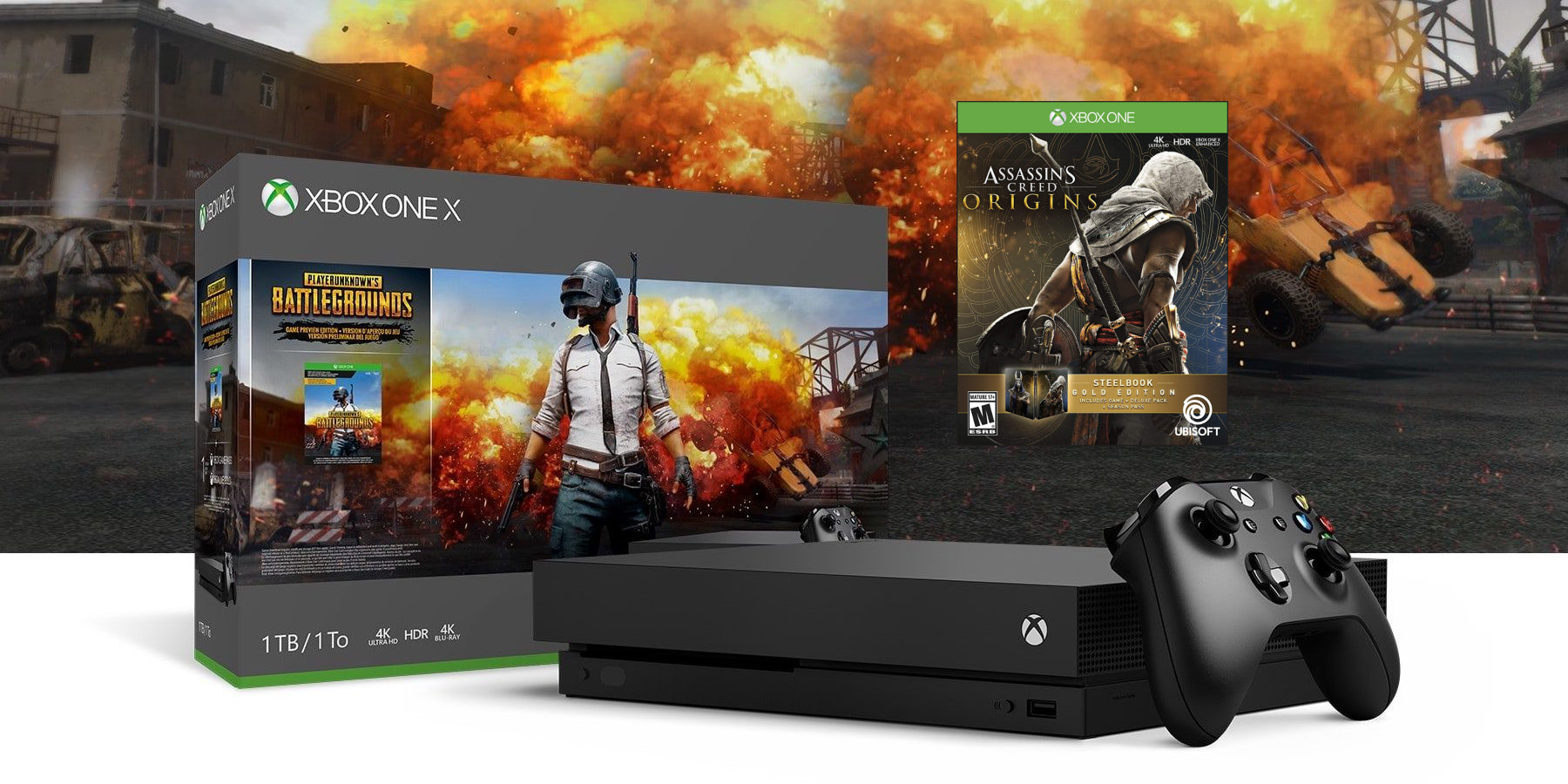 Pubg Hdr Ps4: Xbox One X 1TB PUBG W/ AC Origins Gold & Extra Controller