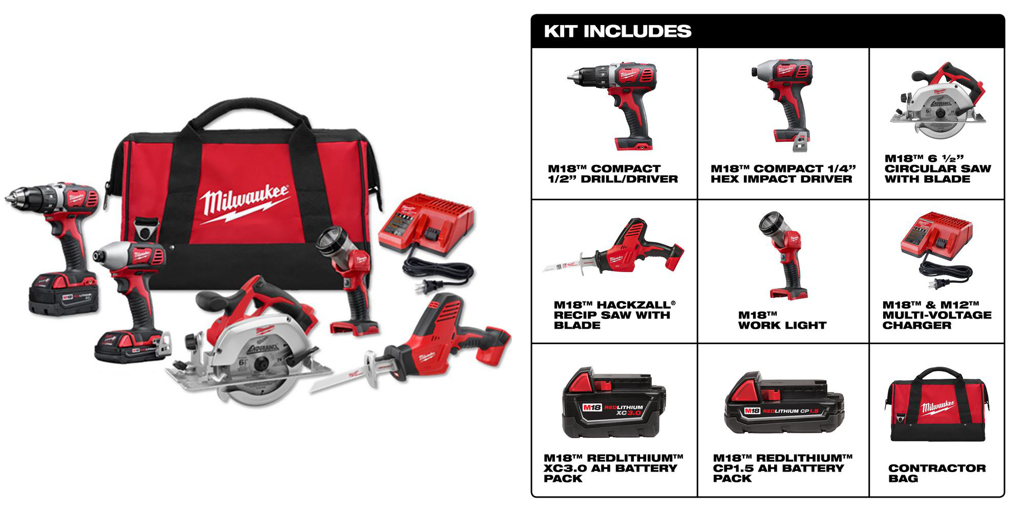 Knock out nearly any project w/ Milwaukee's M18 Cordless 5-Tool Kit: $299 (Reg. $559)
