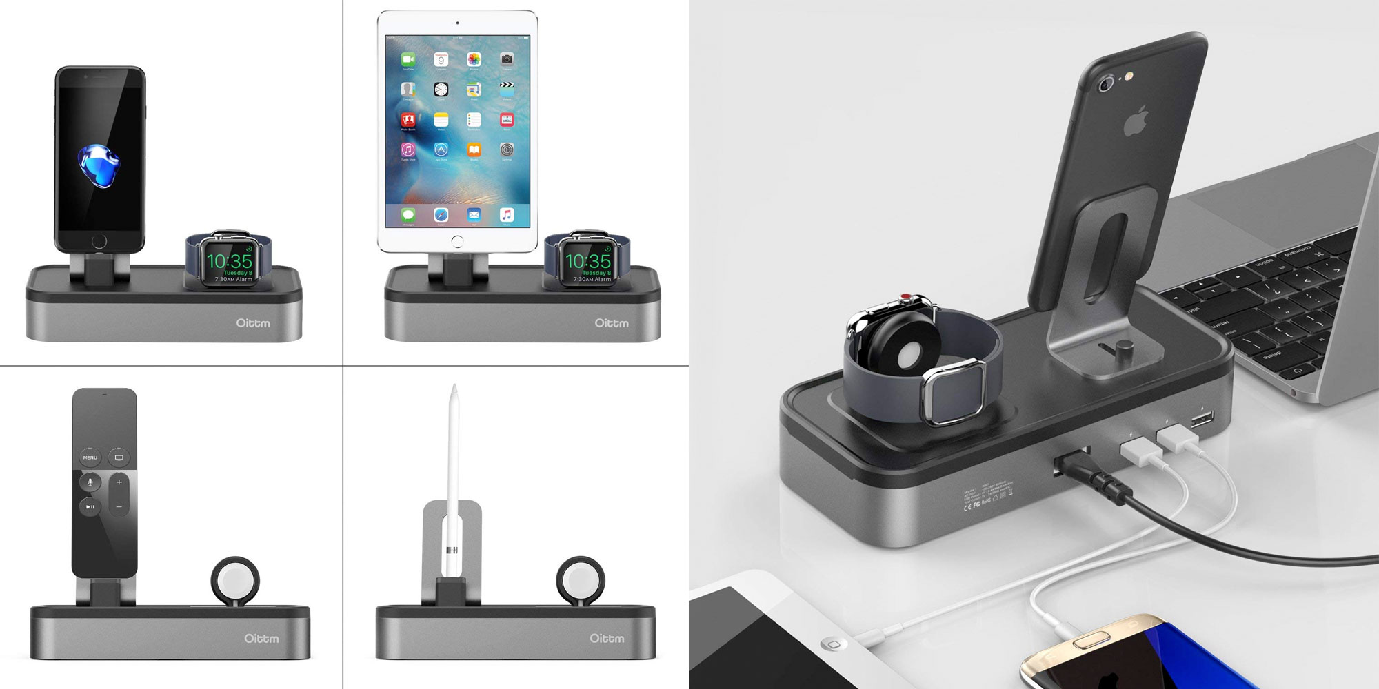 This dock charges your iPhone, Apple Watch, and three other devices for $23.50