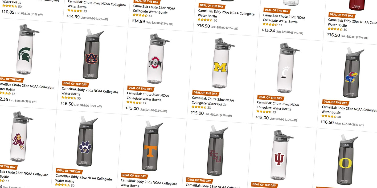 3f3eb71db5 Amazon has a number of CamelBak 25-oz. NCAA Water Bottles on sale from $11