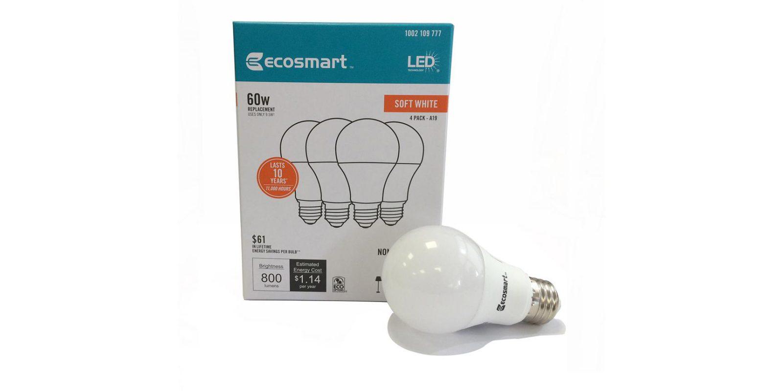 Green Deals 4 Pack Ecosmart 60w A19 Led Light Bulbs 3