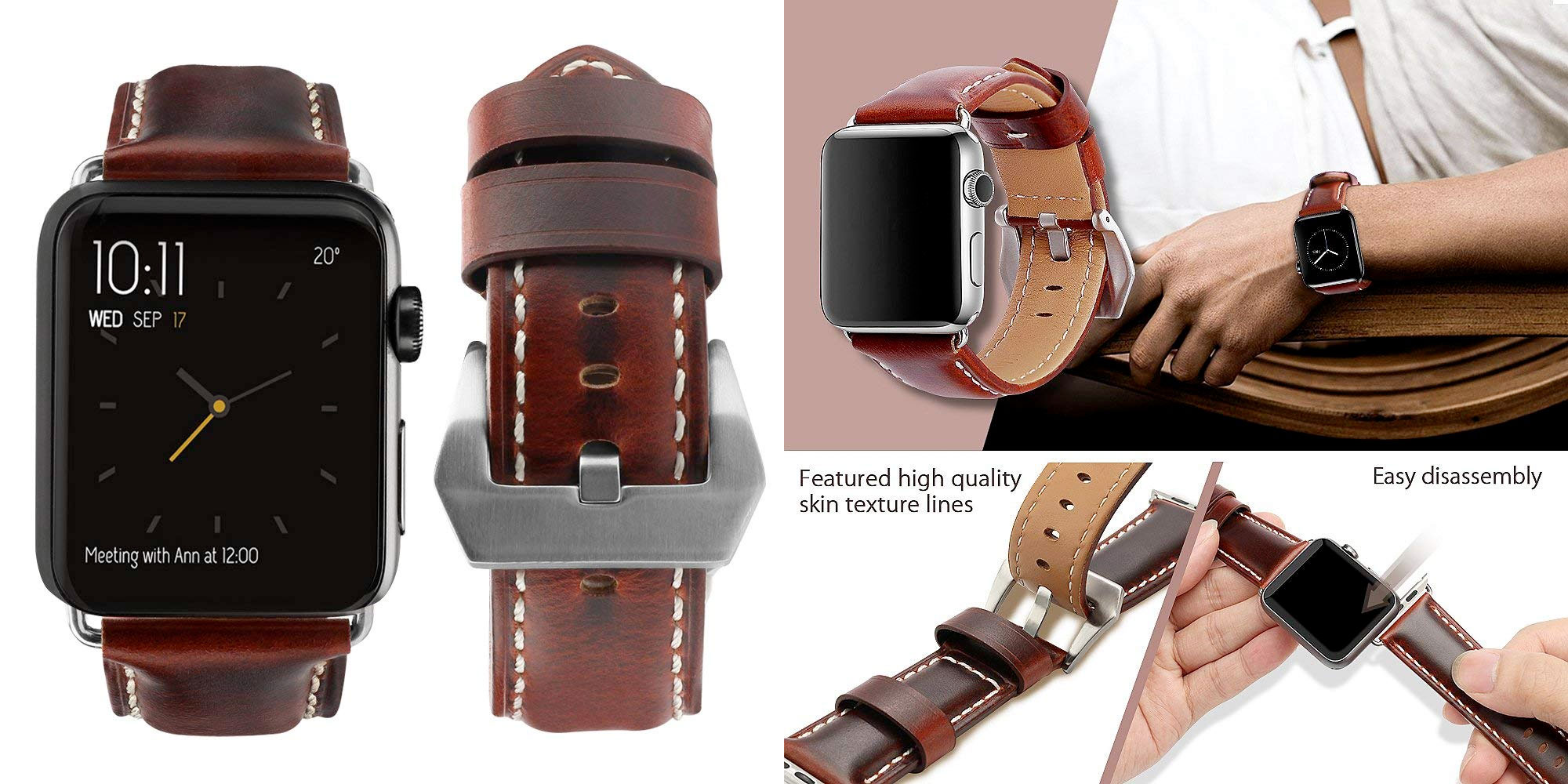 Top4Cus Leather Apple Watch Band