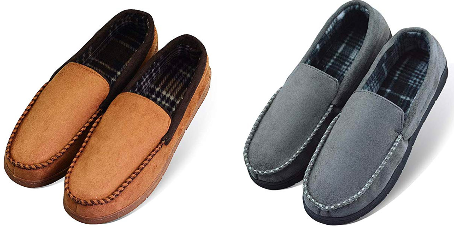 These men's moccasin-style slippers in several colors are $8, just in time for cool weather