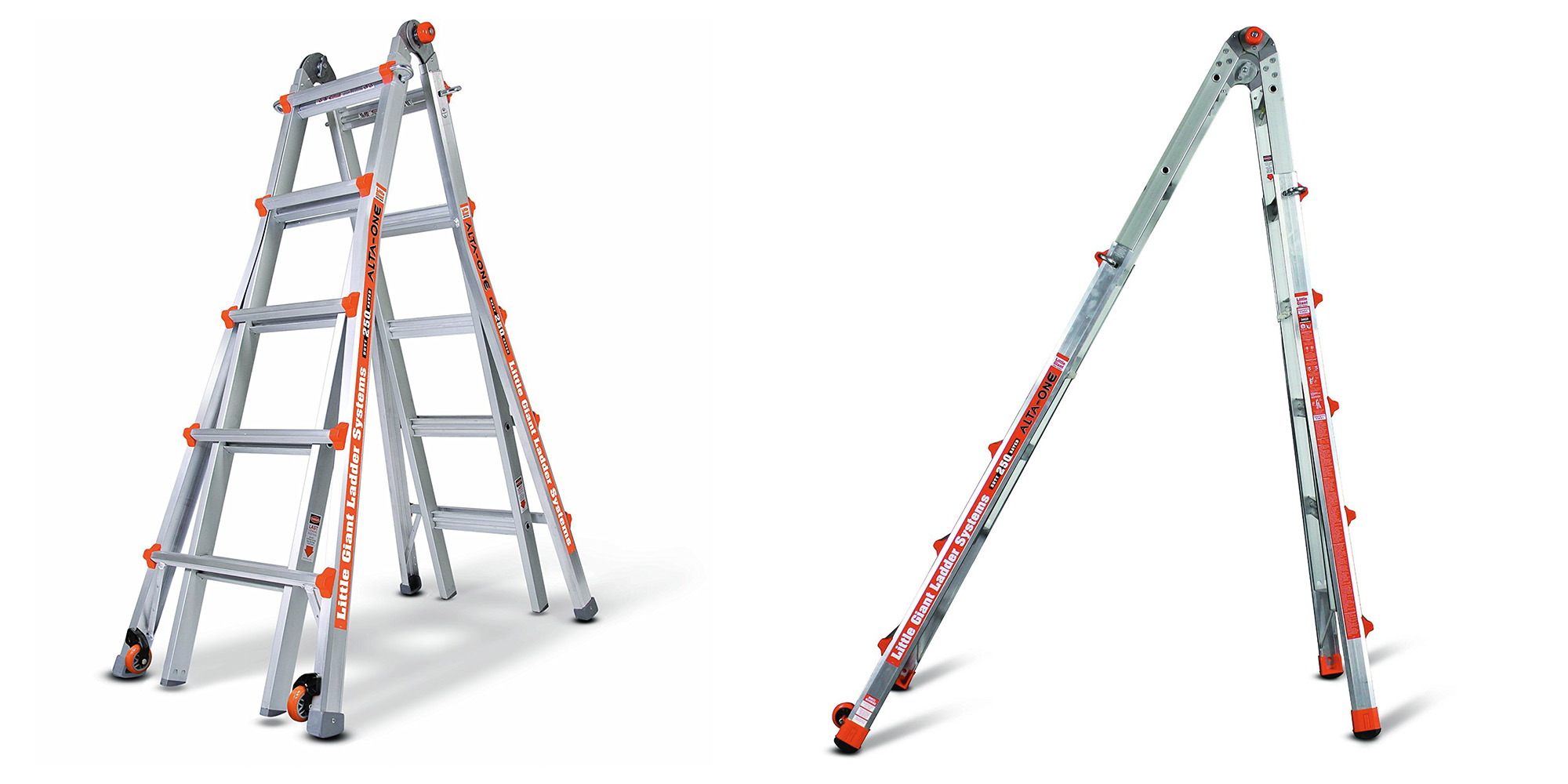 Product Description. The Little Giant Alta-One Model Inch hinge locks and telescoping sides let you safely use the Alta-One as an adjustable extension ladder, A-frame ladder, staircase ladder, and as a trestle-and-plank scaffolding system.