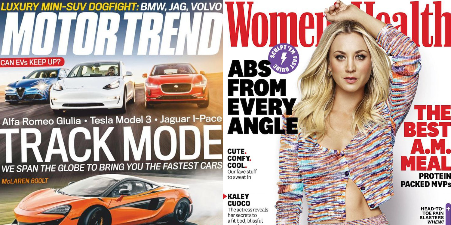 Magazine titles from $2.50/yr: Motor Trend, Women's Health, Dwell, GQ, more