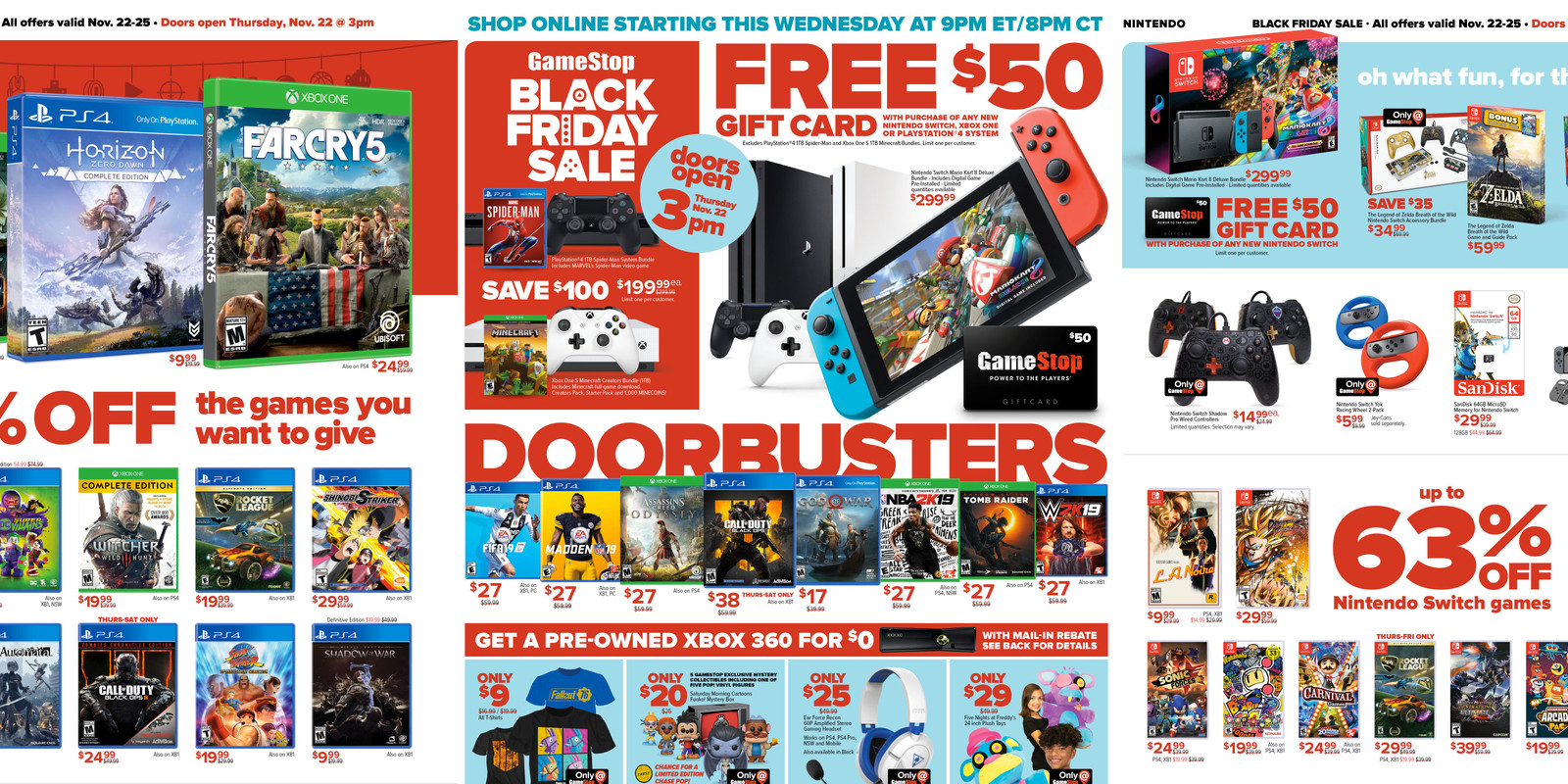 GameStop Black Friday Ad: $50 GC w/ Nintendo Switch, PS4 Pro, Games