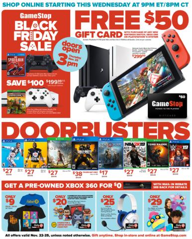 Gamestop Karte.Gamestop Black Friday Ad 50 Gc W Nintendo Switch Ps4 Pro Games