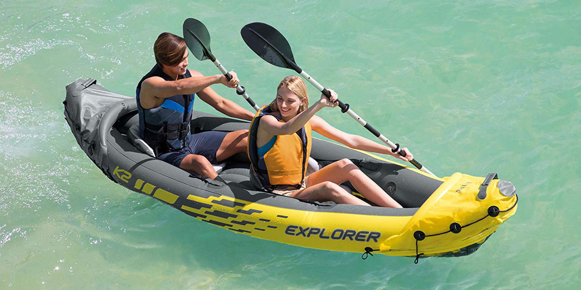 Intex Challenger K2 2 Person Inflatable Kayak Set with 2 Aluminum Paddles Green