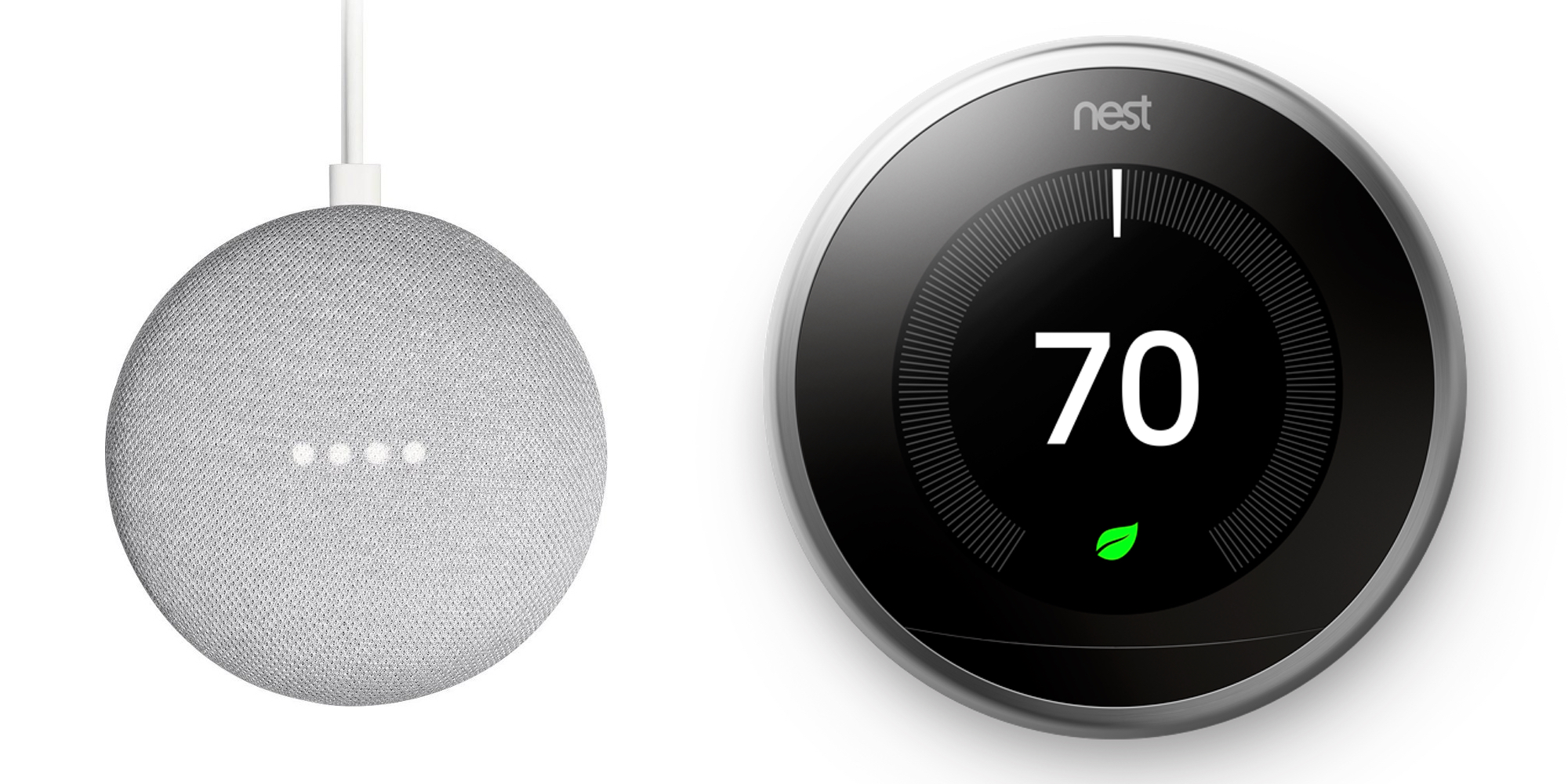 Pick up two Google Home Minis for $58 or bundled with Nest Smart Thermostat at $199
