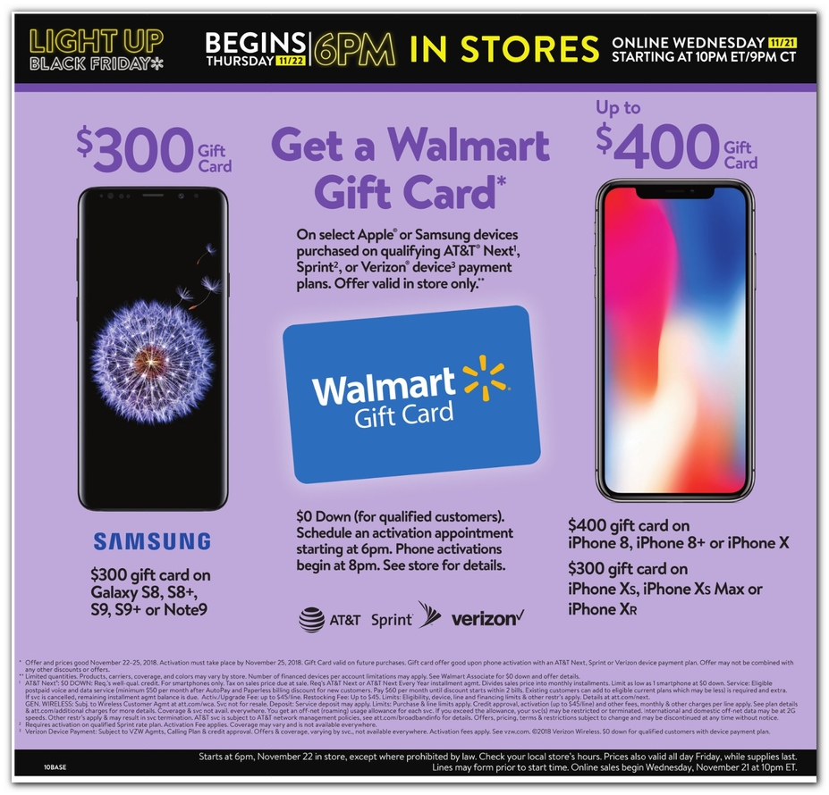 Walmart Black Friday Ad 400 Gift Card W Iphone More 9to5toys