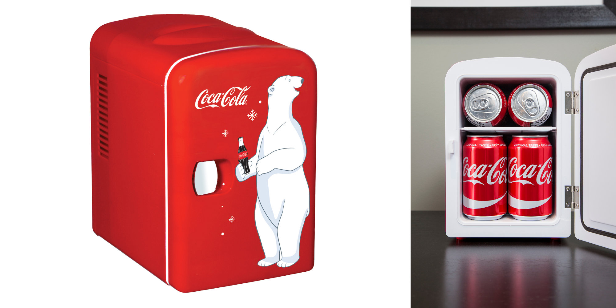 This Coca-Cola Mini Fridge holds 6 cans of your favorite soda or beer: $30 (Reg. $50)
