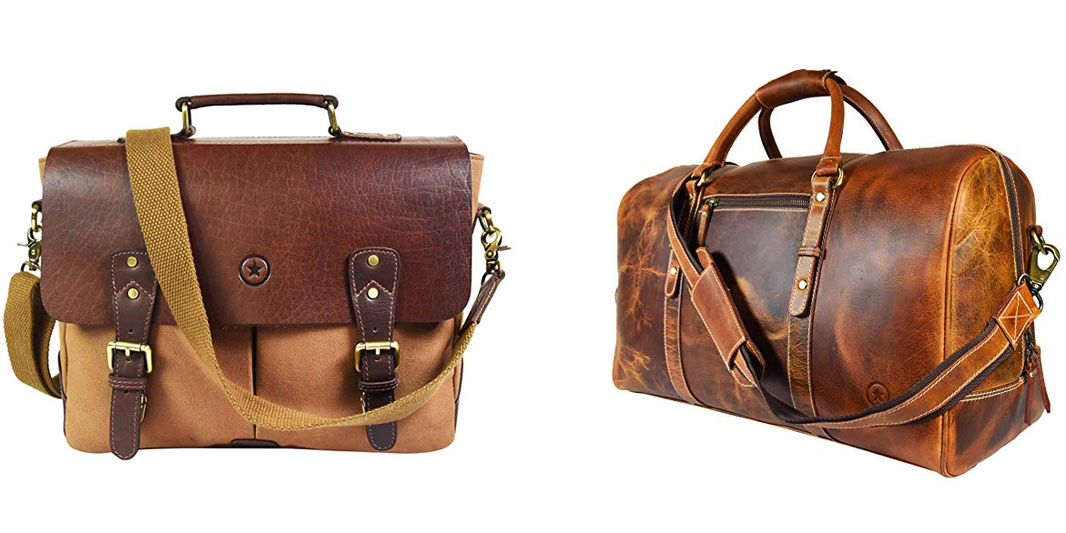 Vintage leather weekender bags & MacBook briefcases from $37 at Amazon, today only