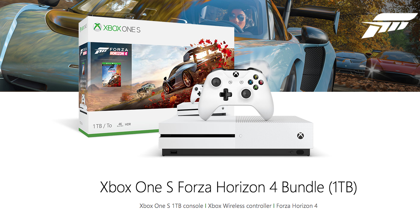 xbox one s 1tb bundles drop to just 199 forza horizon 4. Black Bedroom Furniture Sets. Home Design Ideas