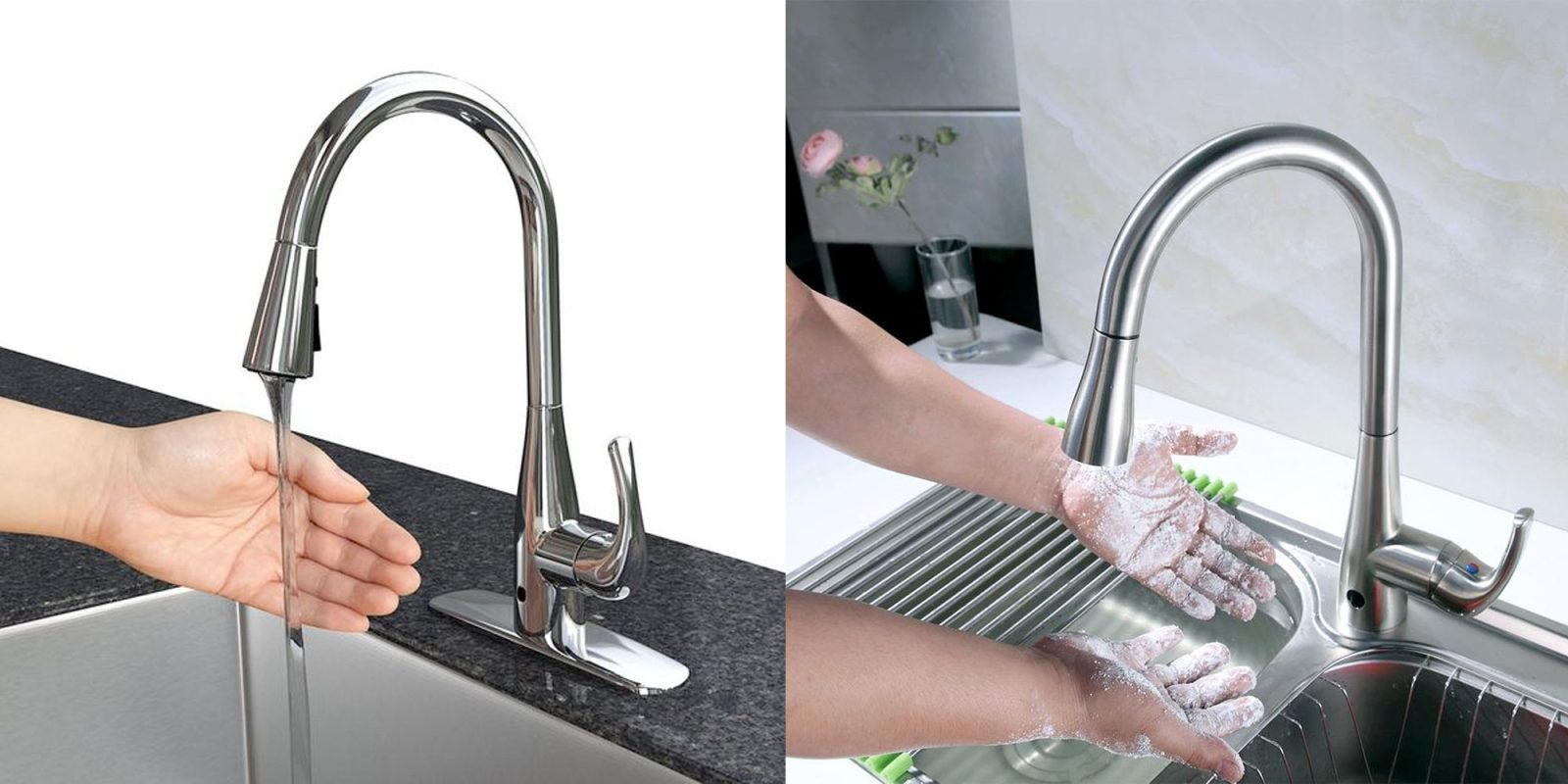 This kitchen faucet is motion sensing, making for the ...
